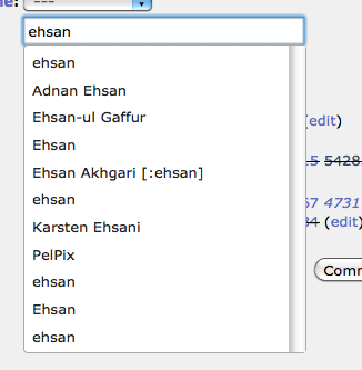 User name autocomplete for the Assignee field
